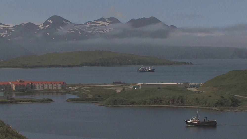 Fishing boat coming in toward harbour. Northern Pacific, Aleutian Islands. Alaska - 959-71