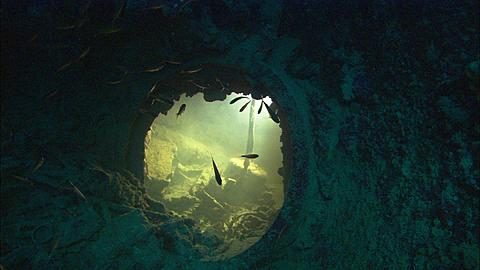 Interior point of view looking into room below hatch, Chuuk Lagoon, South Pacific