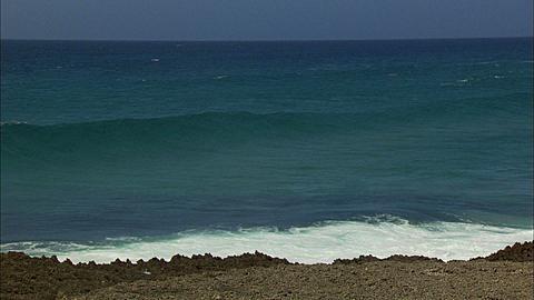 Coastline, Waves, cresting, breaking, sky, iron shore. Mozambique