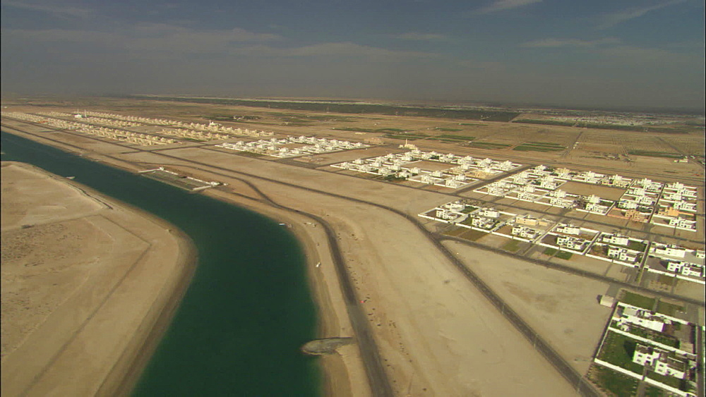 Aerial, houses in the desert, sea water canal, United Arab Emirates, Middle East - 1010-3413