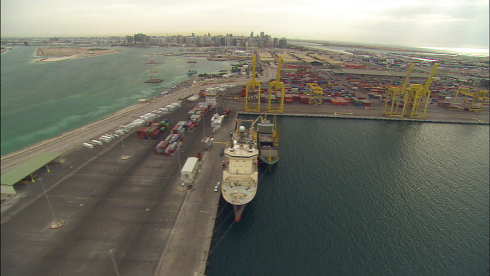 Aerials, harbour, tankers, marina and cityscape, United Arab Emirates, Middle East