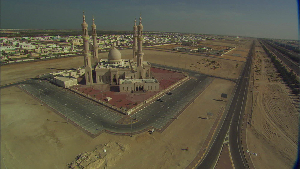 Aerial, houses, road, mosque, United Arab Emirates, Middle East