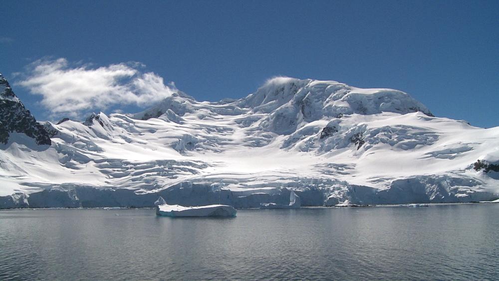 Antarctic scenic, cascading glacier. Errera Channel. Antarctic Peninsula