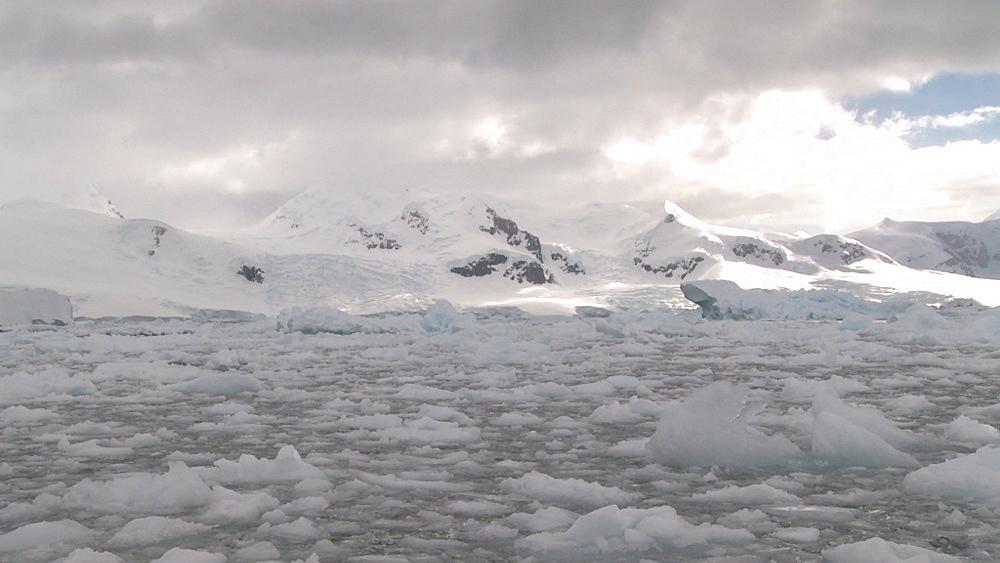 Brash ice with mounains behind. Neko Harbour, Antarctic Peninsula