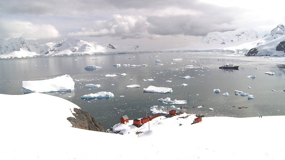 Argentinian Antarctic station from high angle . Almirante Brown. Paradise Bay