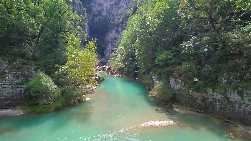 View by drone of Verdon Gorge (Grand Canyon du Verdon), Alpes de Haute Provence, France, Europe