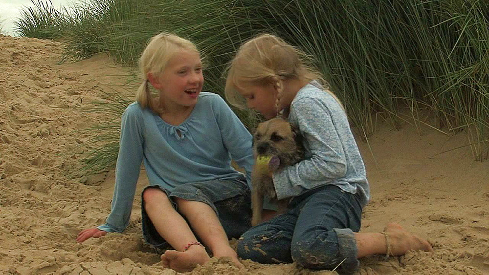 Two children cuddling their dog - 1114-1448
