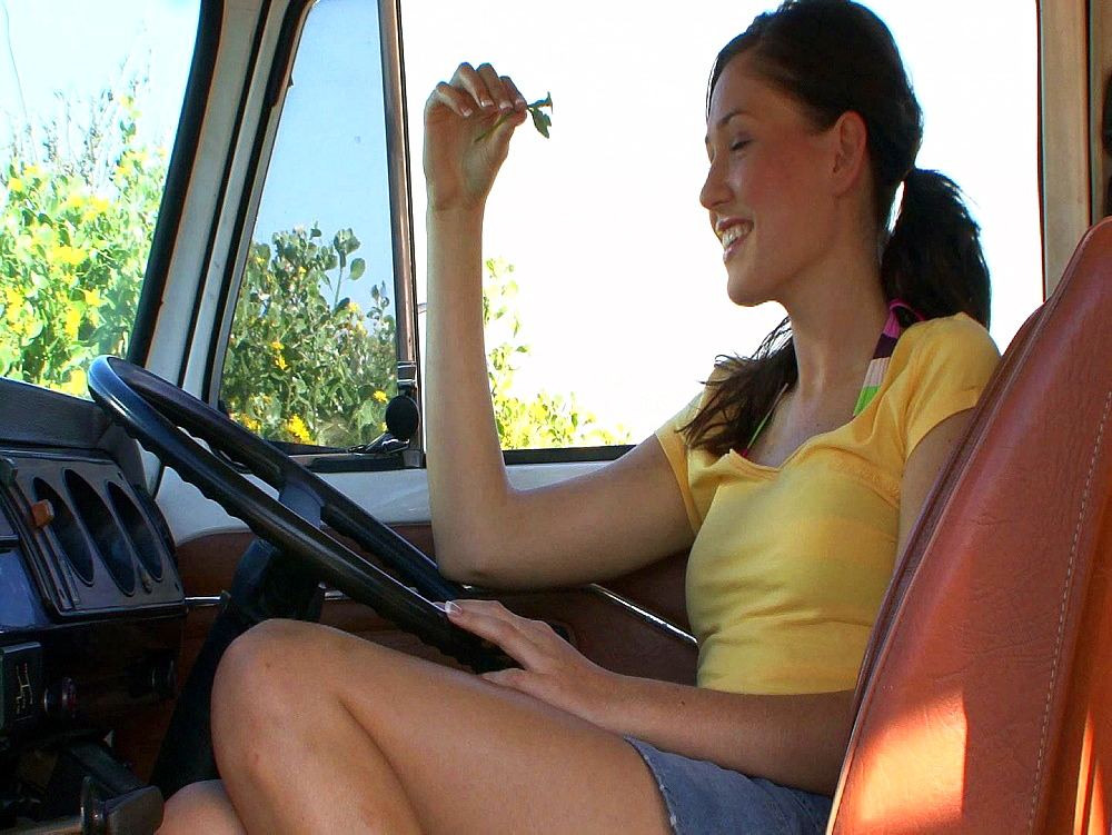 Traveller contemplating in her campervan