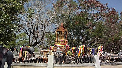 God with 4 Faces surrounded by Elephant Guards at the Southern Tip of Phuket