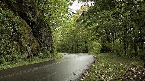 Wet Road of the Blue Ridge Parkway, North Carolina