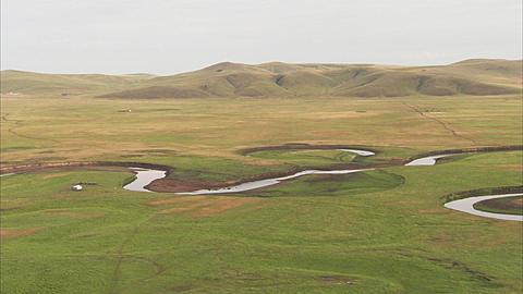Hot-air balloon aerial over grasslands, Inner Mongolia, Asia