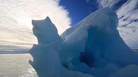 Boat track around intricate iceberg close, Antarctica - 1159-1141