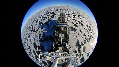 Extreme wide high angle (porthole style) view of ice breaker , Antarctica - 1159-1297