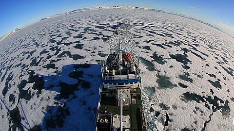Extreme wide high angle view of ice breaker and trail in sea ice , Antarctica - 1159-1298
