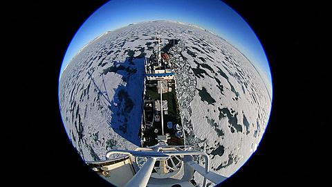 Extreme wide high angle (porthole style) view of ice breaker with move right, Antarctica - 1159-1300