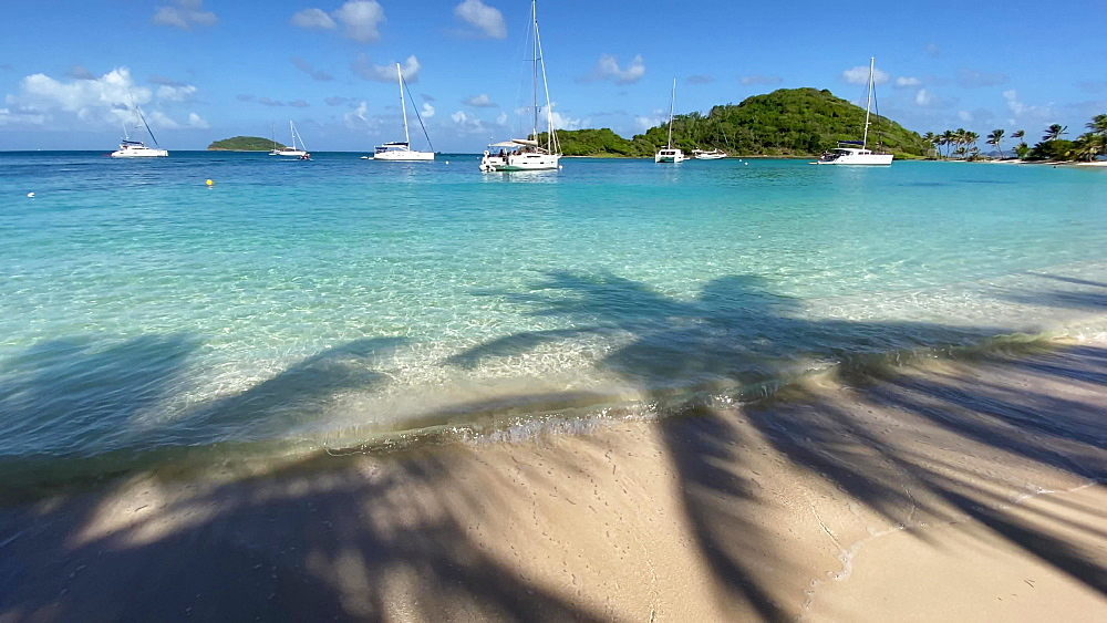 Yachts in aquamarine Saltwhistle Bay, shadow of palm trees, gentle breeze, sound of lapping sea, Mayreau, Grenadines, West Indies, Caribbean, Central America