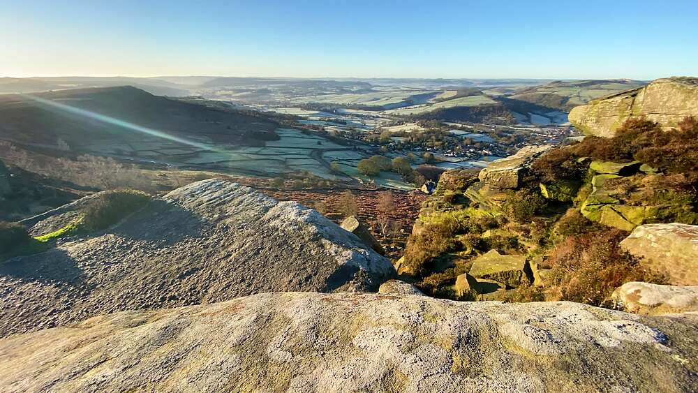 View from Curbar Edge across a frosty Derwent Valley in winter sun, Peak District National Park, Derbyshire, England, United Kingdom, Europe