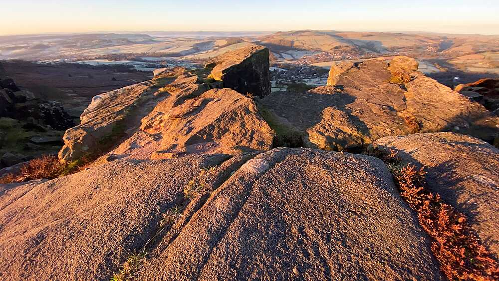 Lichen covered rocks of Curbar Edge at sunrise, Winter, Derbyshire Peak District National Park, England - 1167-2366