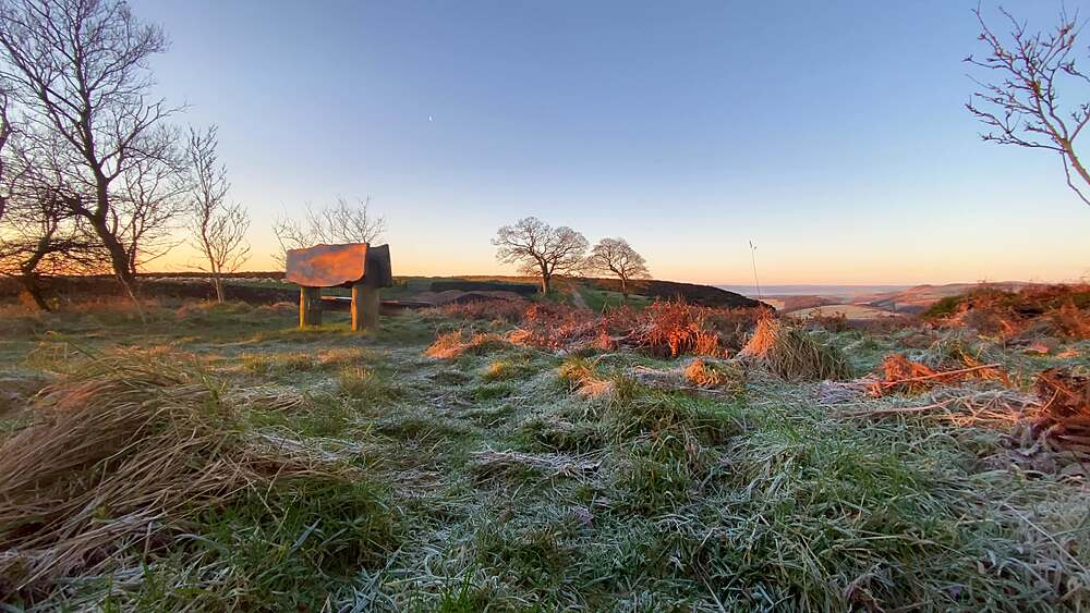 Viewpoint looking towards Curbar Gap and Baslow Edge, frosty winter sunrise, Peak District National Park, Derbyshire, England, United Kingdom, Europe
