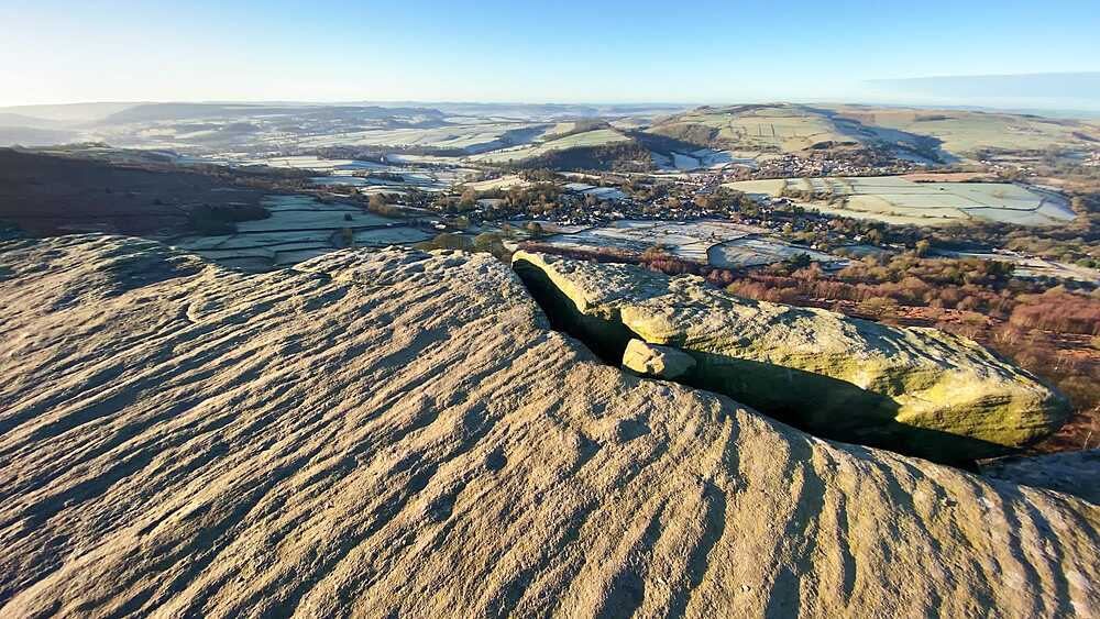 View from Curbar Edge, panning across a frosty Derwent Valley, winter sun, Peak District National Park, Derbyshire, England, United Kingdom, Europe