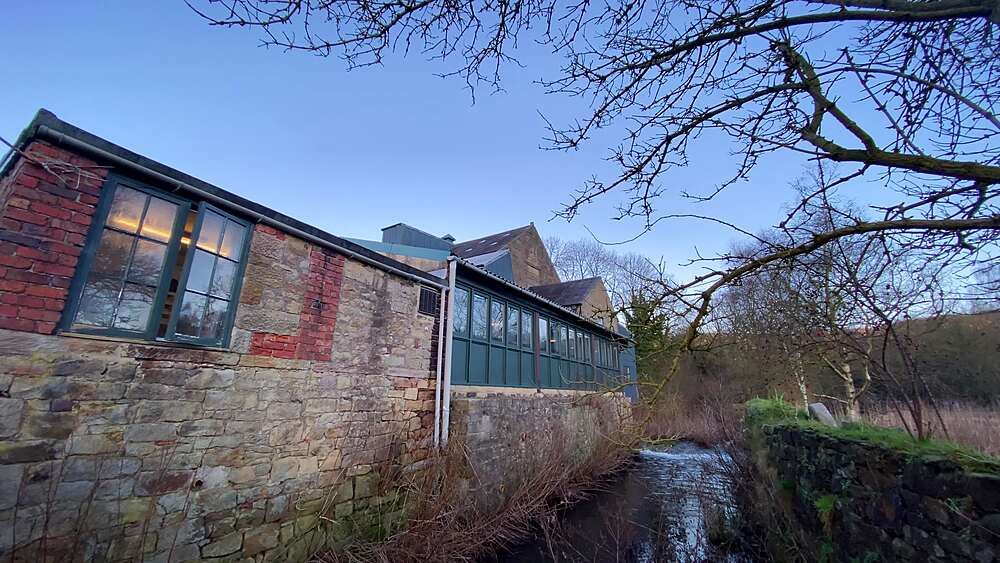 Diverted River Wye at Caudwells Mill, Grade II listed water power mill, winter, Rowsley, Peak District, Derbyshire, England, United Kingdom, Europe