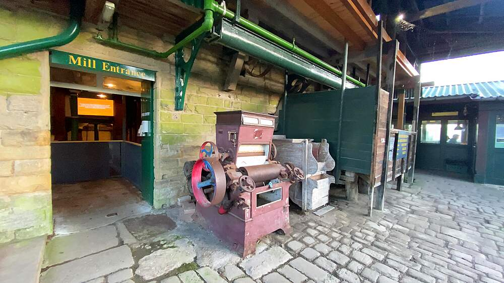 Working machinery, Caudwells Mill, Grade II listed historic water power mill, winter, Rowsley, Peak District, Derbyshire, England, United Kingdom, Europe