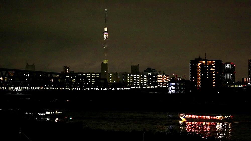 Boats cruising on Arakawa river at night and Tokyo Skytree, Tokyo, Japan - 1172-1132