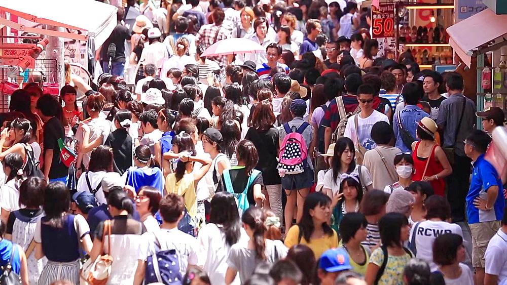 People walking at Takeshita Dori street in Harajuku, Tokyo, Japan - 1172-1239