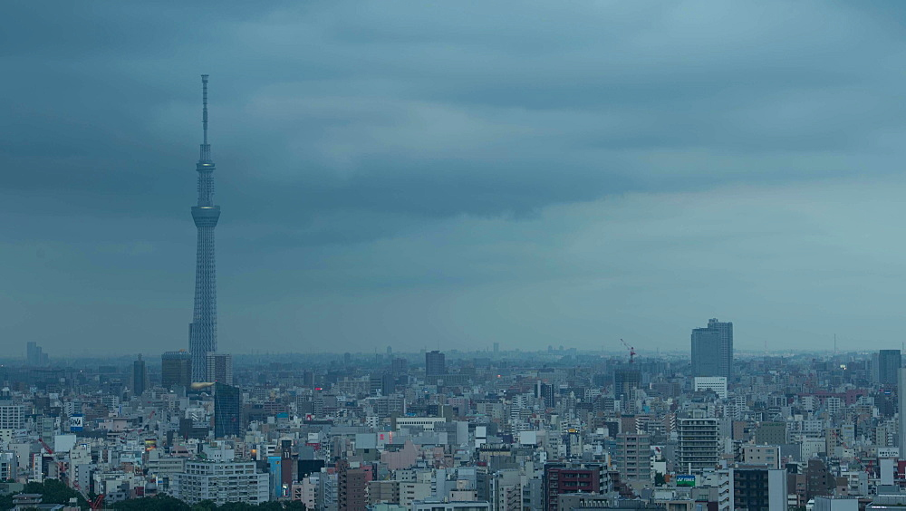 Day To Night Time Lapse View Of Tokyo Cityscape and Skytree, Tokyo, Japan - 1172-1285