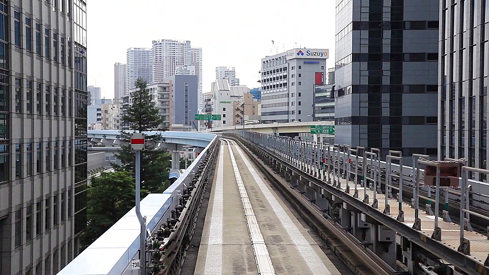 View of Tokyo from Yurikamome automated train, Tokyo, Japan - 1172-1345