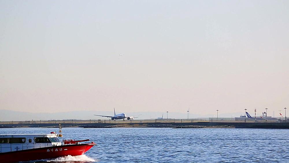 Airplane taking off at Tokyo International Airport, Tokyo, Japan - 1172-1501