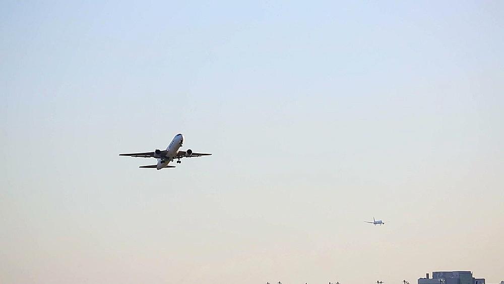 Airplane taking off at Tokyo International Airport, Tokyo, Japan - 1172-1504