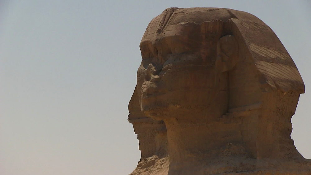 Close up of the Great Sphinx, sphinx of Giza, Cairo, Egypt, Africa - 1182-115