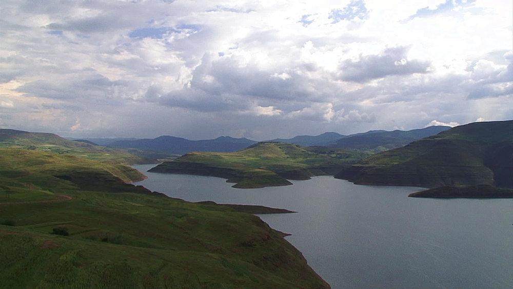 Pan of Katse Dam, Lesotho Highlands in Lesotho, Africa - 1182-122