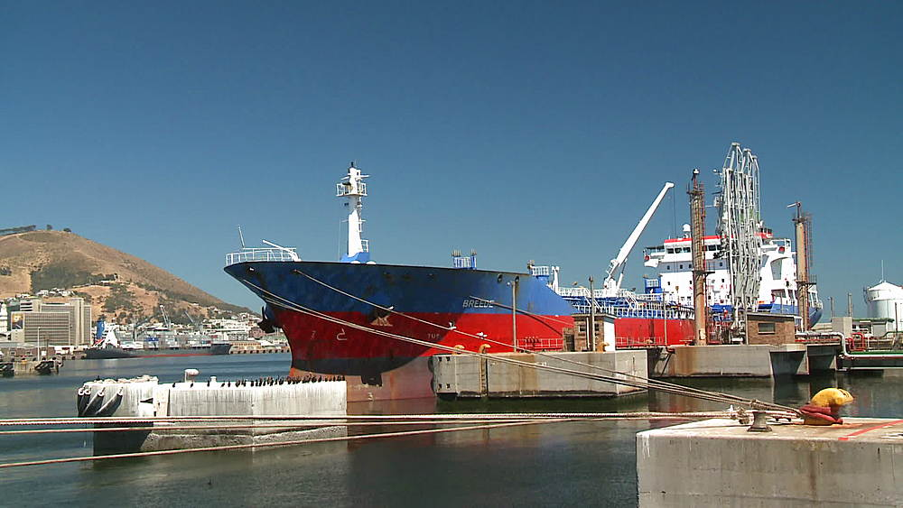 'Breede' Oil Tanker moored in the harbour at Cape Town harbour, South Africa - 1182-144