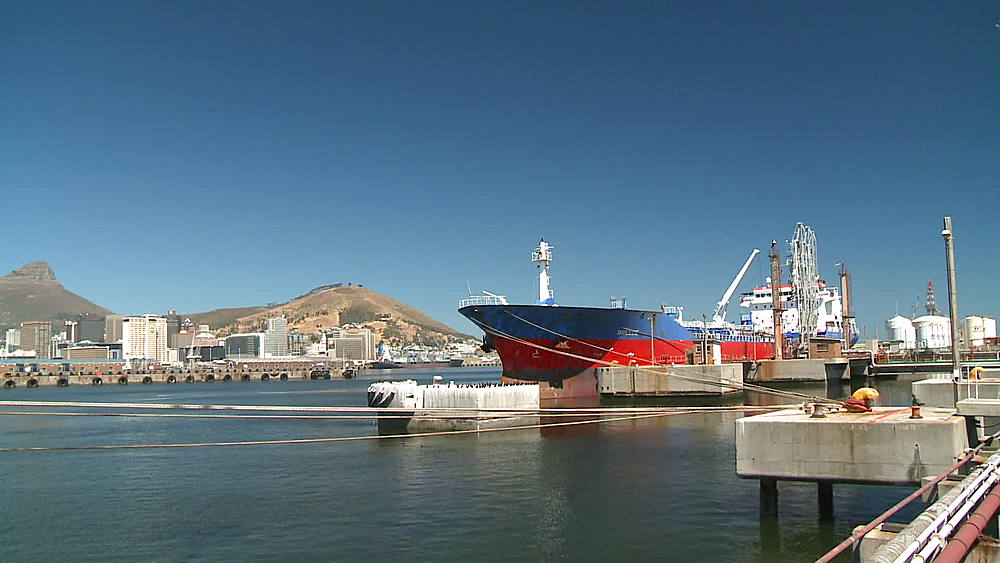 Oil Tanker with the bulbous bow icon/logo moored in the harbour at Cape Town Harbour, South Africa - 1182-145