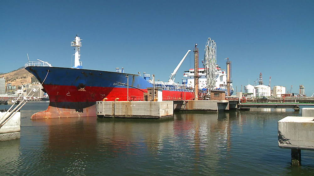 'Breede' Oil Tanker with the bulbous bow icon/logo moored in the harbour, Cape Town Harbour, South Africa - 1182-148