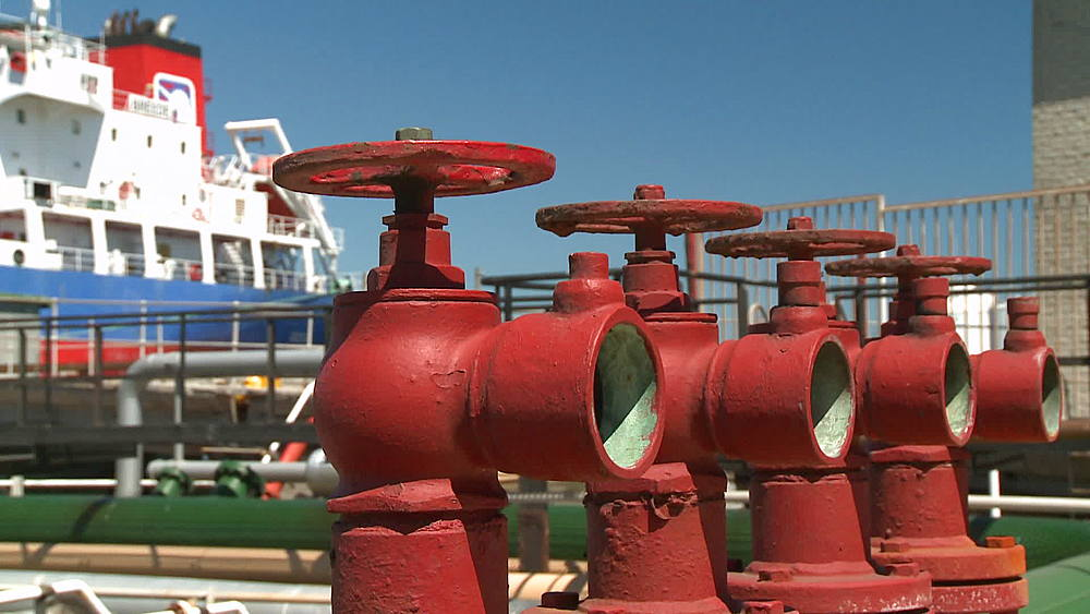 Close up of valves at an oil refinery, Cape Town, South Africa - 1182-157