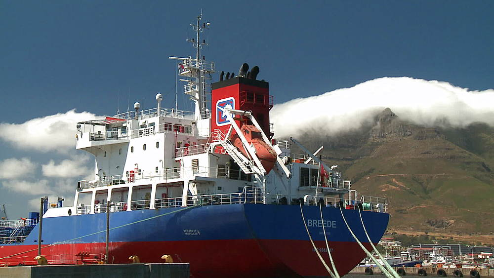 Stern of the 'Breede' Oil Tanker at an Oil Refinery in Cape Town Harbour, South Africa - 1182-163