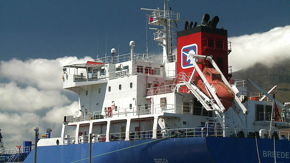 Video stock footage close up of the bridge, wheel house of the 'Breede' Oil Tanker, ship and life boat.  Oil Refinery, Cape Town, South Africa - 1182-166