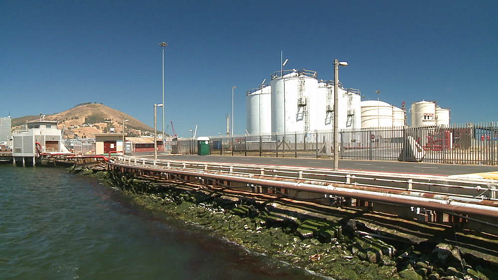 Container tanks at an Oil Refinery in Cape Town, Signal Hill in background, South Africa  - 1182-169