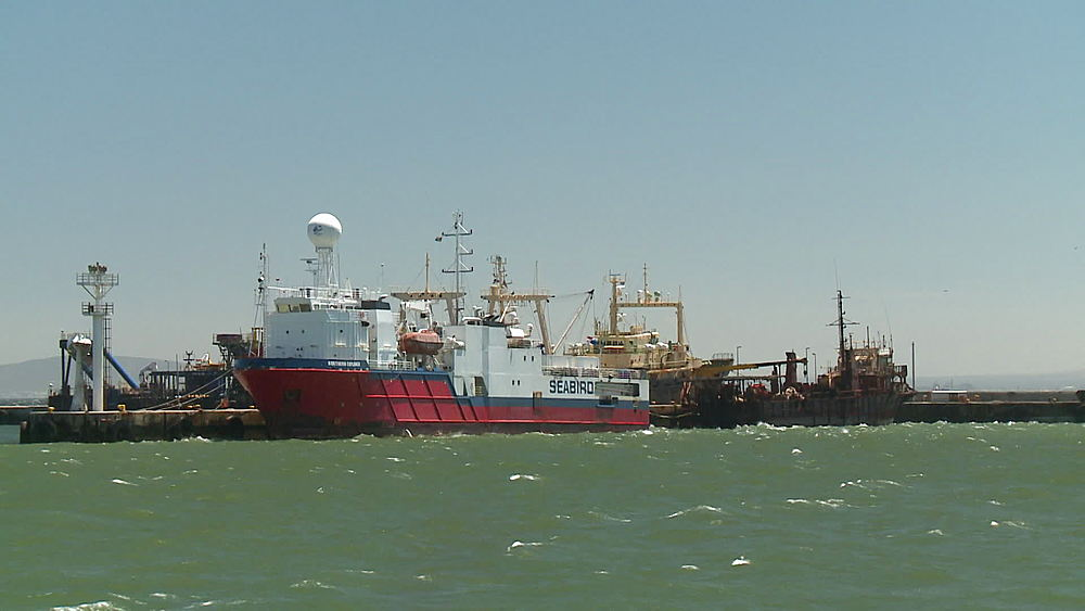The vessel 'Seabird' docked with other vessels, ships in choppy water, windy seas, in Cape Town, South Africa - 1182-176