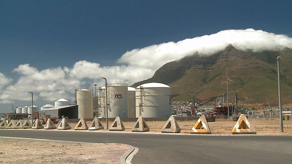 Container storage tanks at an Oil Refinery in Cape Town, Table Mountain with clouds rolling over, Cape Town Harbour, South Africa - 1182-179
