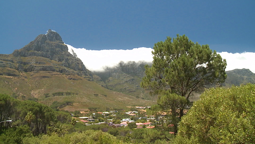 Table Mountain with clouds rolling over, the Atlantic Ocean and Llundudno, Cape Town, South Africa - 1182-194