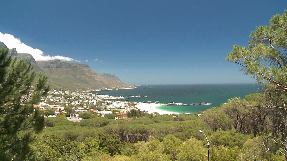 Table Mountain with clouds rolling over, the Atlantic Ocean and Llundudno, Cape Town, South Africa - 1182-196