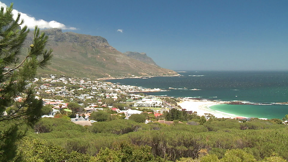 Table Mountain with clouds rolling over, the Atlantic Ocean and Llundudno, Cape Town, South Africa - 1182-197