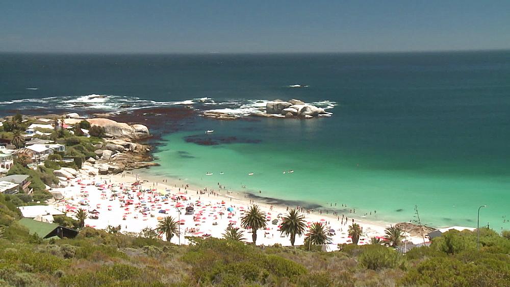 Clifton Beach, beach umbrellas people on the beach and the Atlantic Ocean, Cape Town, South Africa - 1182-199
