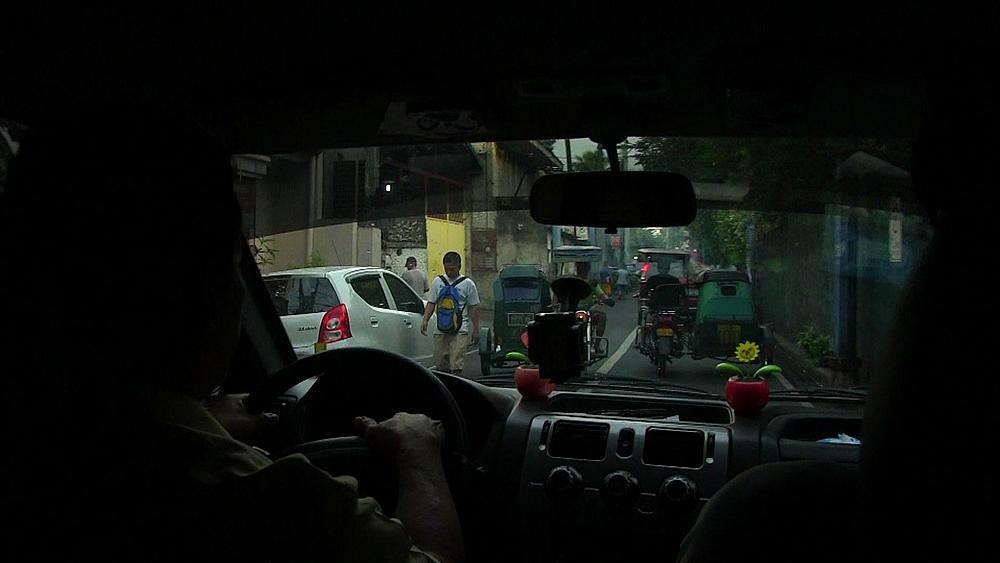 Point of view, driving in taxi, Manila, Philippines, Southeast Asia, Asia