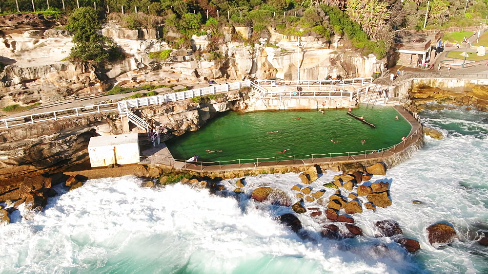 Aerial of Bronte pool, Bronte Beach, Sydney, New South Wales, Australia, Pacific - 1195-126