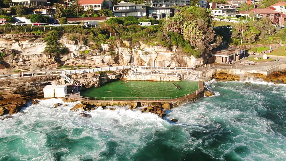 Aerial of Bronte pool, Bronte Beach, Sydney, New South Wales, Australia, Pacific - 1195-127